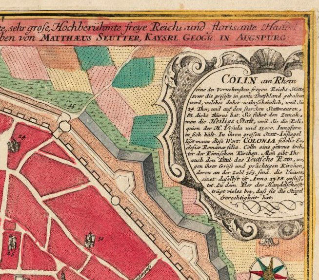 Old Map of Koln Cologne Germany 1740 OLD MAPS AND VINTAGE PRINTS