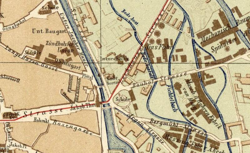 old map of augsburg bavaria germany 1888 old maps and vintage prints. Black Bedroom Furniture Sets. Home Design Ideas