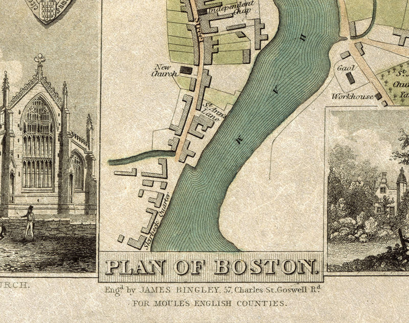 Boston United Kingdom  city pictures gallery : Old Map of Boston 1837 , England United Kingdom OLD MAPS AND VINTAGE ...