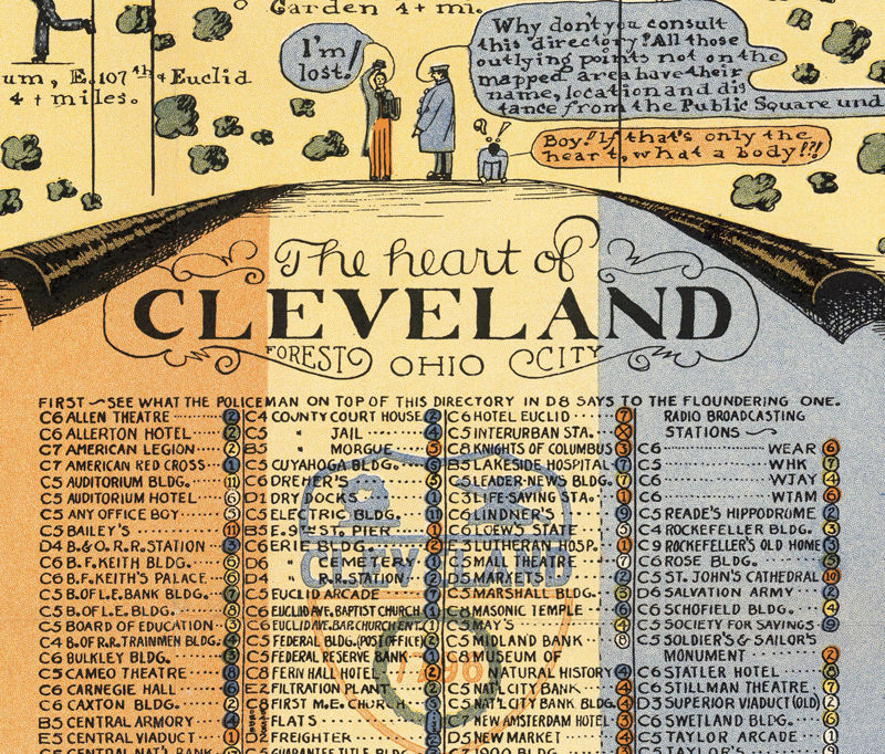 Old Map of Cleveland 1928 Pictorial map OLD MAPS AND VINTAGE PRINTS