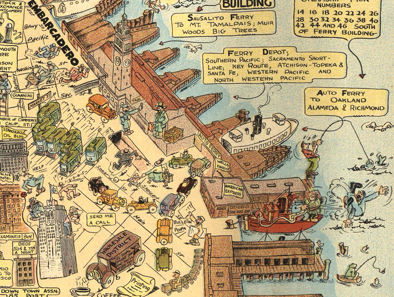 Old Map Of San Francisco Pictorial Map OLD MAPS AND VINTAGE - Vintage sf map
