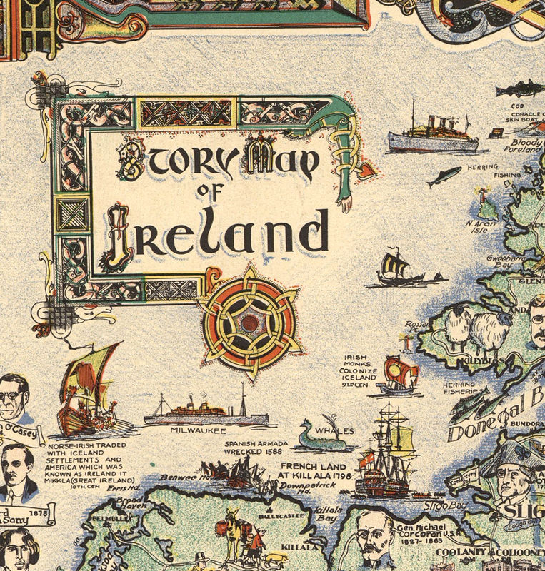 Vintage Map of Ireland Story Map 1936   OLD MAPS AND VINTAGE PRINTS