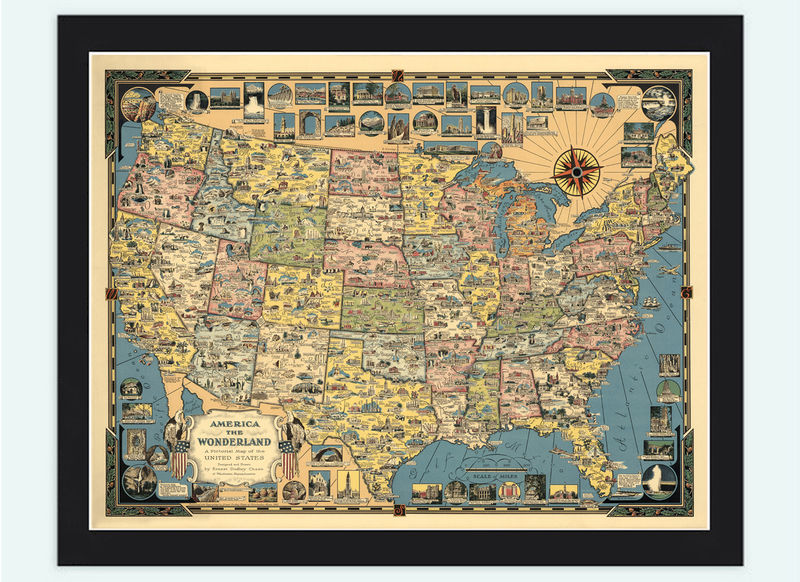 Vintage Map Of United States Wonderland America Pictorial Map Old