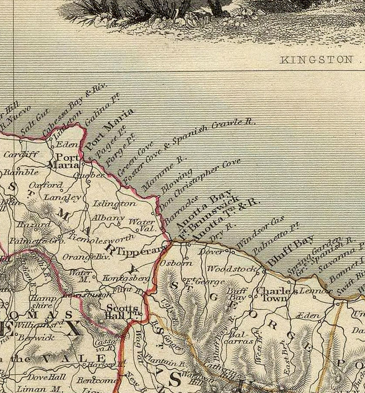 Vintage Old Map Of Jamaica 1851 Antique: Old Map Of Jamaica At Infoasik.co