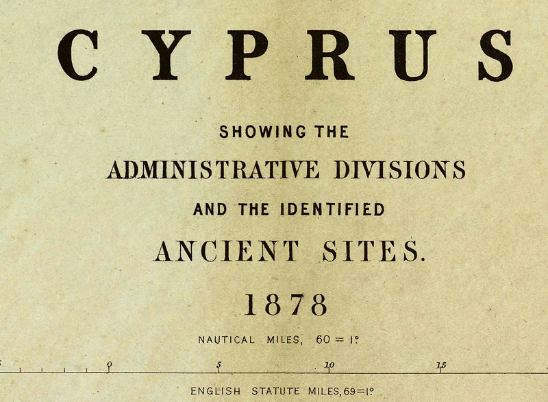 Old Map of Cyprus 1878 OLD MAPS AND VINTAGE PRINTS
