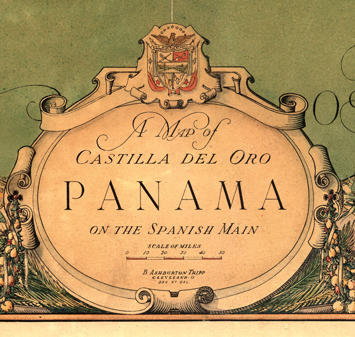 Vintage Map of Panama Canal Zone 1930  OLD MAPS AND VINTAGE PRINTS