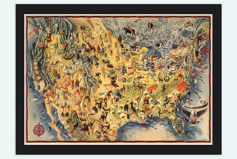 Vintage Map of United States America Pictorial map 1942