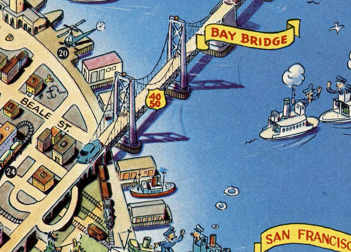 Vintage Map Of San Francisco Pictorial Map Points Of