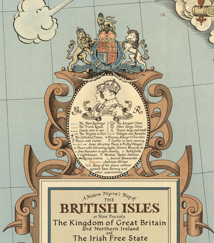 Story Map Of United Kingdom Great Britain Vintage Map