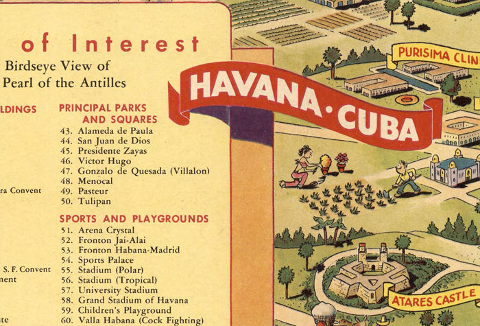 Vintage Map Havana Habana Points Of Interest OLD MAPS AND VINTAGE - Vintage map of cuba