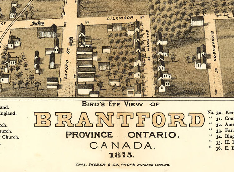 Old Map of Brantford Canada 1875 Panoramic View OLD MAPS AND