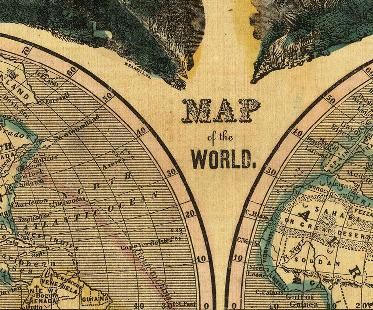 Vintage pictorial world map 1847 with interesting historical vintage pictorial world map 1847 with interesting historical information product image gumiabroncs Gallery