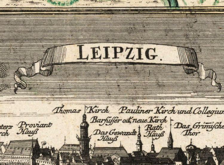 Old Map Of Leipzig With Gravures Germany Deutshland OLD - Map of leipzig