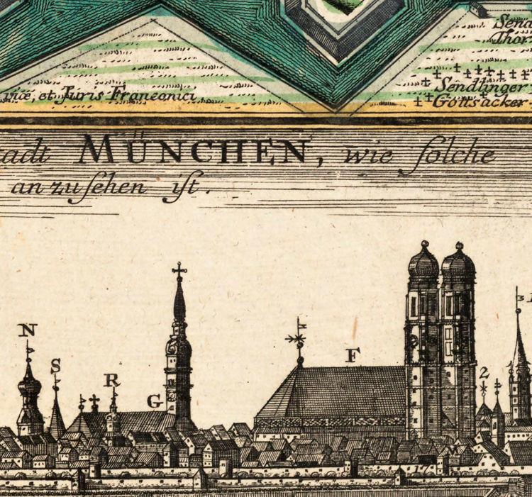 old map of munster munich germany deutshland 1740 old maps and vintage prints. Black Bedroom Furniture Sets. Home Design Ideas