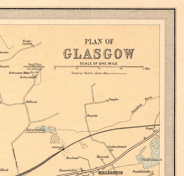 Old Map of Glasgow, Scotland 1912