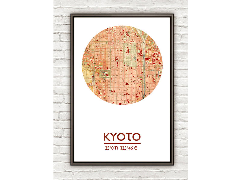 KYOTO - city poster - city map poster print - OLD MAPS AND VINTAGE on