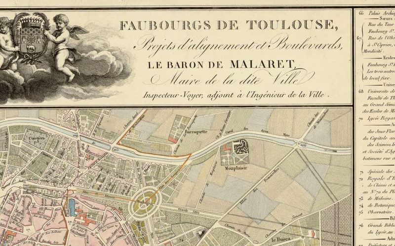 Old Map of Toulouse France 1850 OLD MAPS AND VINTAGE PRINTS