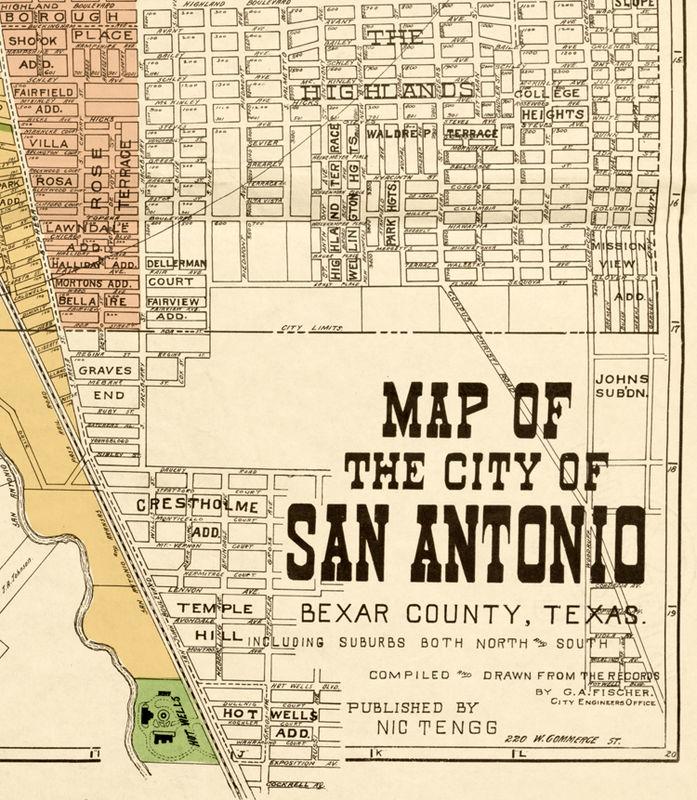 Old map of San Antonio Texas 1924 - OLD MAPS AND VINTAGE PRINTS City Map Of San Antonio on