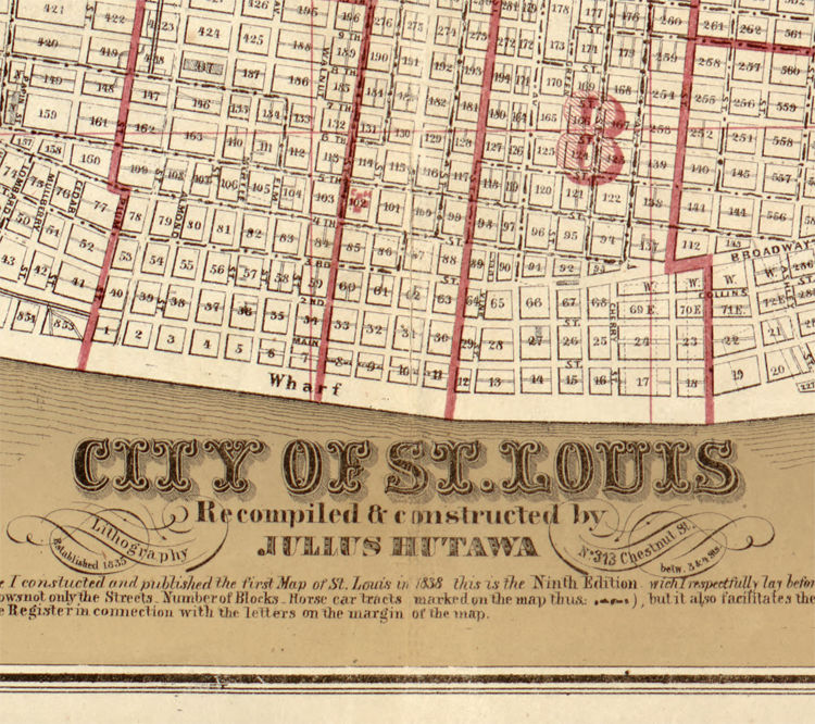 Old map of Saint Louis City St Louis 1870 - OLD MAPS AND VINTAGE PRINTS