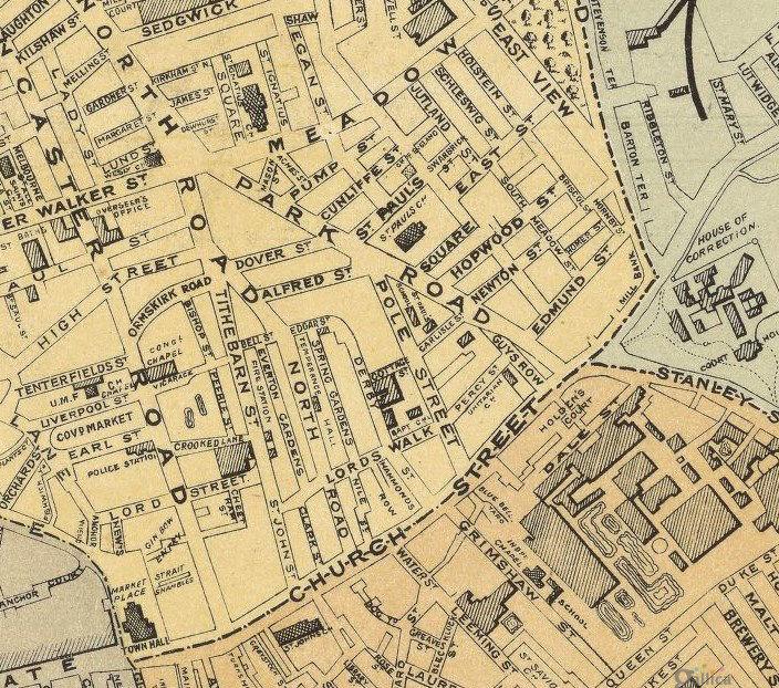 Preston United Kingdom  city pictures gallery : Old Preston Map 1890, England United Kingdom OLD MAPS AND VINTAGE ...