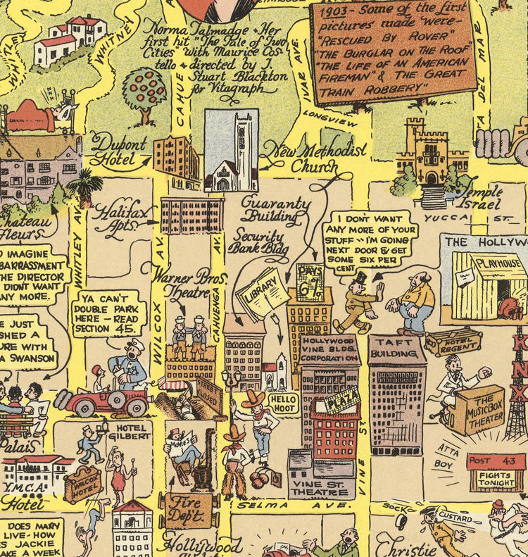 Old Map of Hollywood Los Angeles 1928 OLD MAPS AND VINTAGE PRINTS