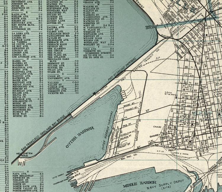 Old map Oakland Alameda Berkeley San Leandro OLD MAPS AND VINTAGE