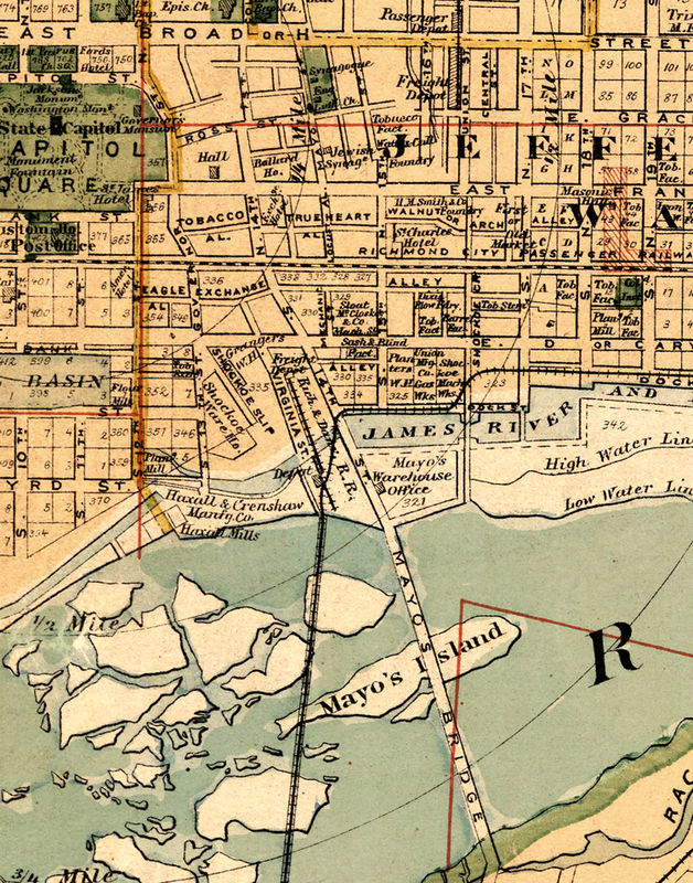 Old Map Of Richmond Virginia 1876 - OLD MAPS AND VINTAGE PRINTS