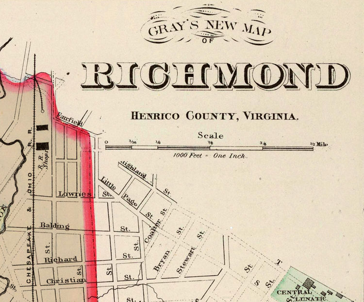 Old Map of Richmond Virginia 1884