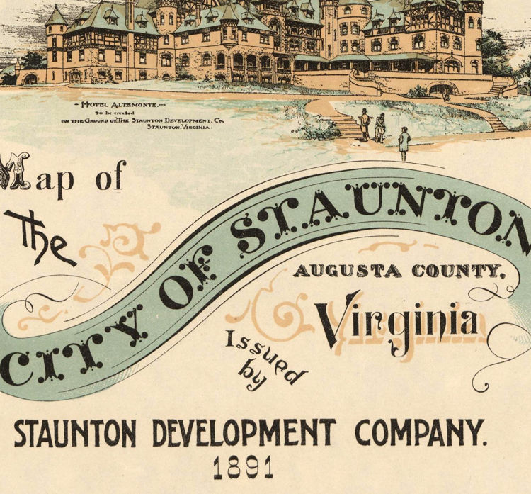 Staunton (VA) United States  city pictures gallery : Old Map of Staunton, Augusta County, Virginia 1891 OLD MAPS AND ...