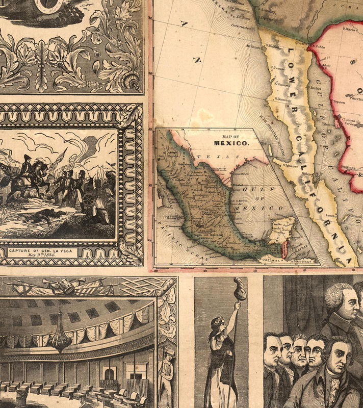 Old Map Of United States Of America 1849 Usa Map Product Image