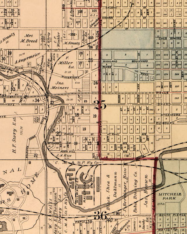 Old Map Of Milwaukee County And City Vintage Map Pieces - Vintage milwaukee map