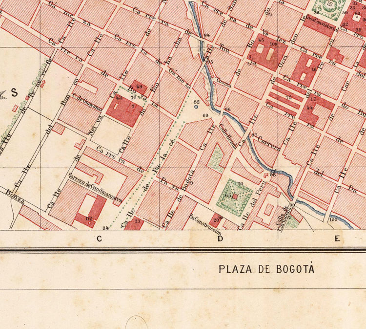 Old Map of Bogotá Colombia 1890 - OLD MAPS AND VINTAGE PRINTS