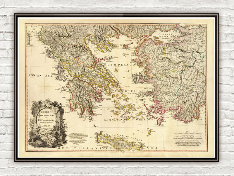 Old Map of Greece 1791 Vintage map - OLD MAPS AND VINTAGE PRINTS