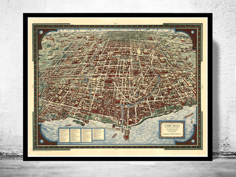 Old,Panoramic,View,of,Chicago,Birdseye,1938,Art,Reproduction,Open_Edition,vintage,United_States,retro,antique,business_district,old_map,vintage_map,vintage_poster,map_of_chicago,chicago_map,chicago_poster