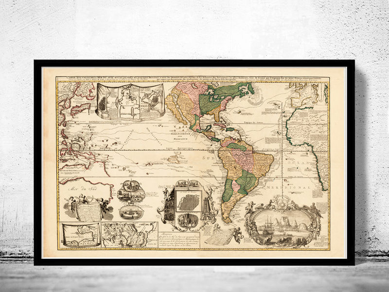 Beautiful World Map Vintage Atlas 1740 - product image