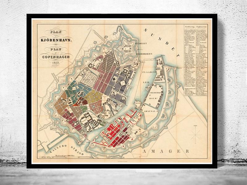 Old Map of Copenhagen Denmark 1853 City Plan Vintage Map OLD