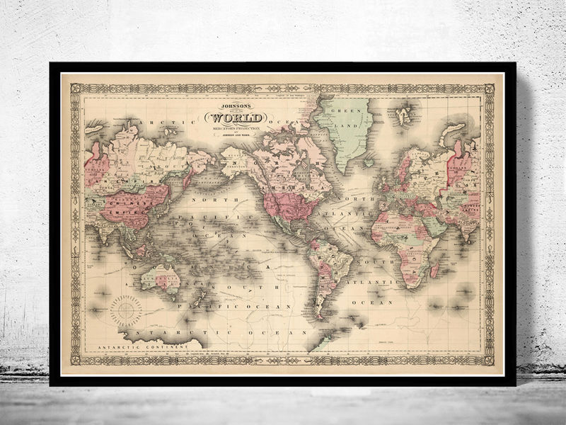 Old World Map Atlas Vintage World Map 1864 Mercator projection - product image