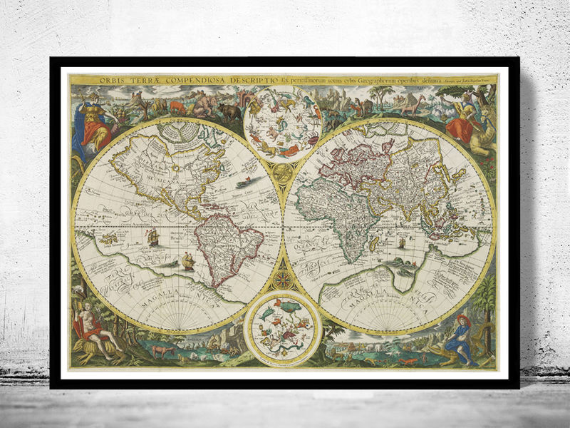 Old World Map Antique 1596 - OLD MAPS AND VINTAGE PRINTS