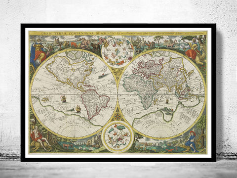 Old,World,Map,Antique,1596,Art,Reproduction,Open_Edition,vintage,World_map,old_map,antique,atlas,world_atlas,vintage_map,hemisphere,old_world_map,medieval,engraving,map_of_the_world