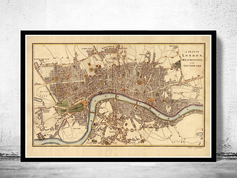 Old Map Of London England United Kingdom OLD MAPS AND - Old map shop london