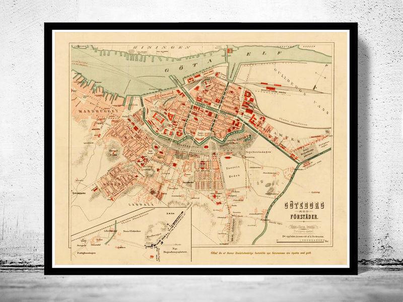 Old Map Of Gothenburg Goteborg Sweden OLD MAPS AND VINTAGE - Sweden map gothenburg