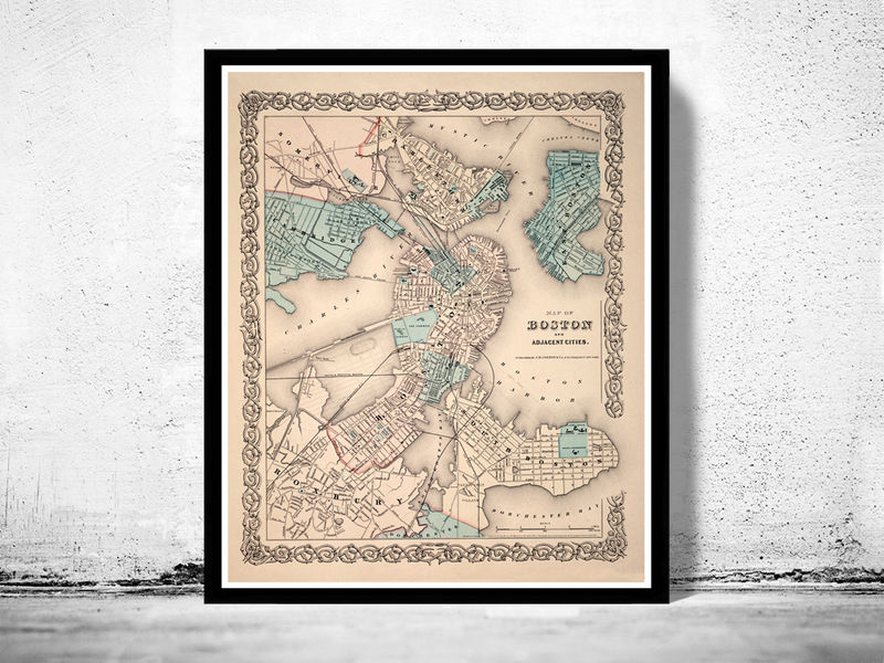 Old Map Of Boston Massachusetts Vintage OLD MAPS AND VINTAGE - Antique boston map