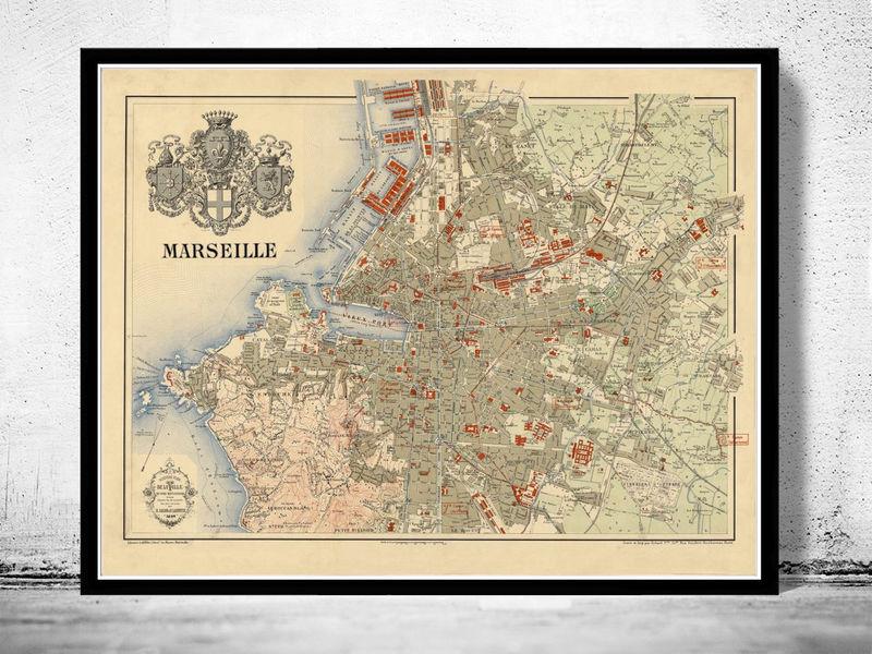 Old Map of Marseille France 1894 Vintage OLD MAPS AND VINTAGE PRINTS