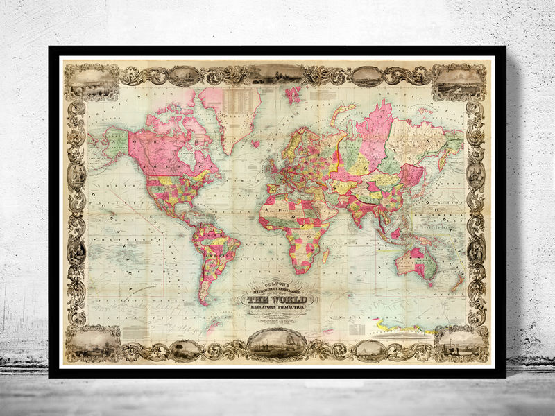Antique world map 1854 mercator projection old maps and vintage prints antique world map 1854 mercator projection product image gumiabroncs Choice Image