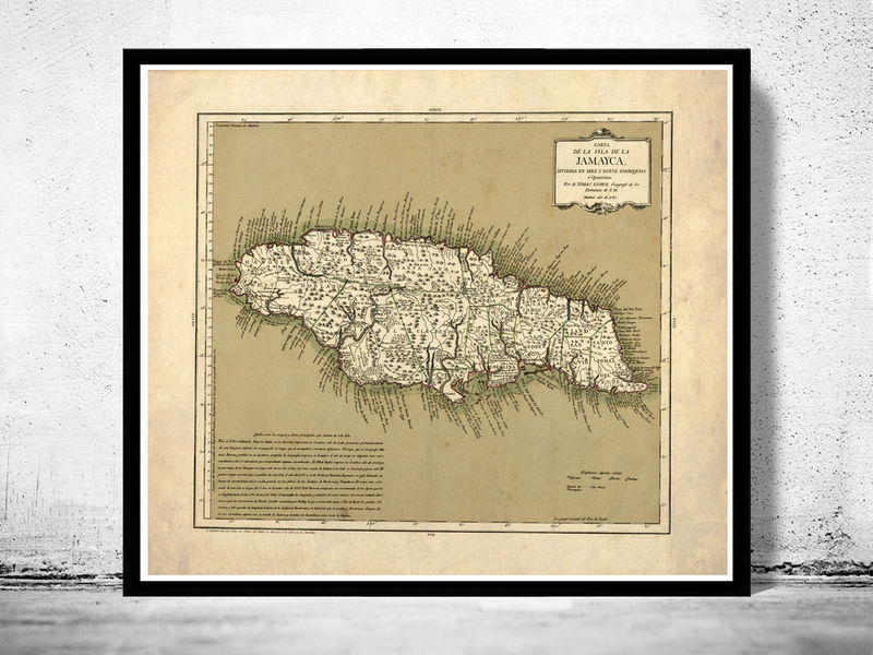 Vintage old map of jamaica 1780 antique map of jamaica old vintage old map of jamaica 1780 antique map of jamaica product image gumiabroncs Gallery