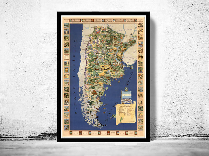Vintage Map Argentina The Promised Land OLD MAPS AND VINTAGE PRINTS - Argentina map vintage