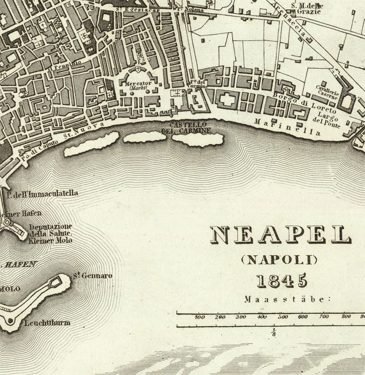 Old Map of Napoli Naples, City Plan Italia 1845 Antique Vintage Italy - product image