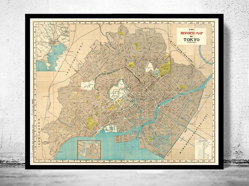 Vintage Map Of Tokyo Japan OLD MAPS AND VINTAGE PRINTS - Japan map poster