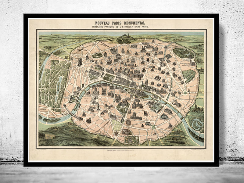 Old Map of Paris Monumentale, France 1878 - OLD MAPS AND VINTAGE PRINTS