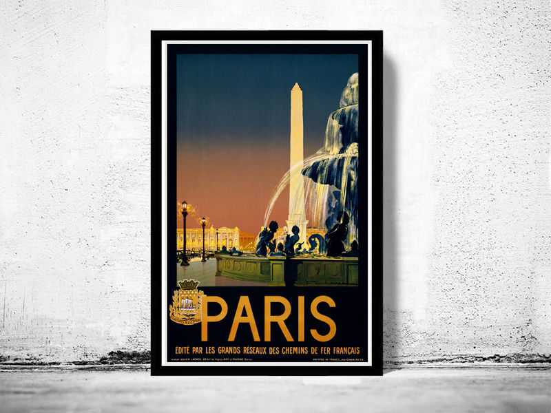vintage poster of paris france 1930 tourism poster travel old maps and vintage prints. Black Bedroom Furniture Sets. Home Design Ideas